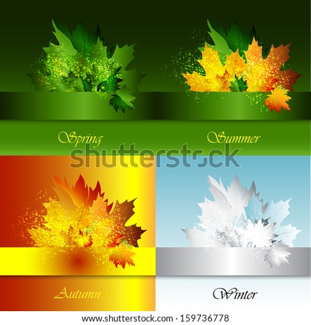Spring, Summer, Autumn, Winter background with leaves.