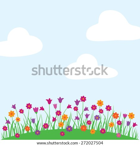 Spring, summer background with bright wildflowers and white clouds. Greeting card. Congratulation. Elements for your design.
