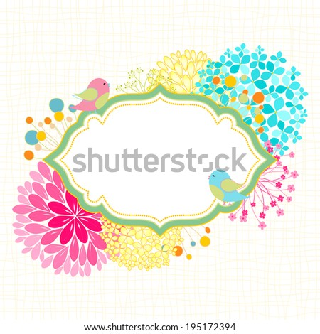 Spring Summer Colorful Flower Bird Garden Party Invitation - stock photo