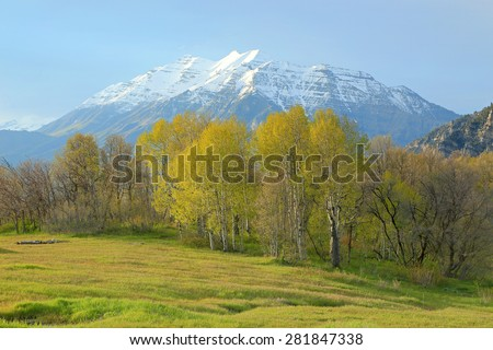 Spring sunset with Mount Timpanogos, Utah, USA. - stock photo