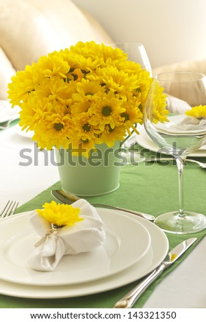 Spring table setting - stock photo