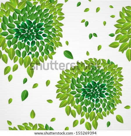 Spring time contemporary green leaves seamless pattern. - stock photo