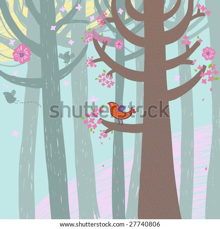 Spring time forest. This illustration in vector - in my portfolio.