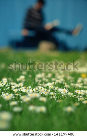 spring time - reading a book and enjoying the smell of daisies - selective focus - person unrecognizable - stock photo