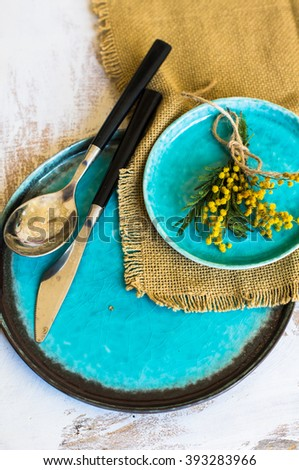Spring Time Table Decoration Yellow Mimosa Stock Photo 393283966 ...