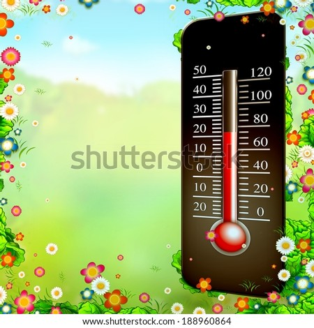 spring time thermometer temperatures in spring illustration - stock photo