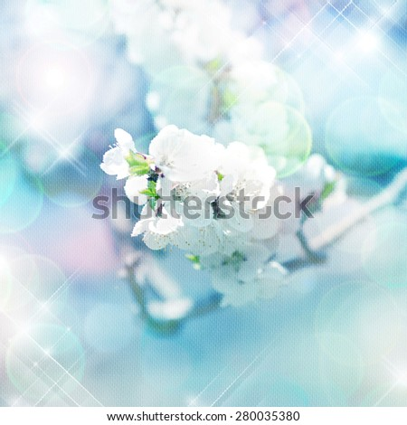 spring tree branches with white flowers.digital painting - stock photo