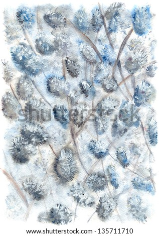 Spring tree with flowers (watercolor drawing) - stock photo