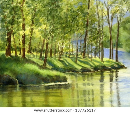 Spring Trees with Reflection.  Watercolor painting with the reflections of green trees in a river.