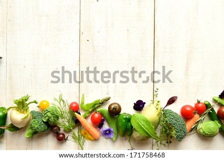 spring vegetables with herbs. - stock photo