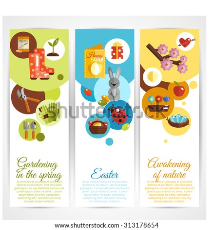 Spring vertical decorative banners set with gardening easter awakening of nature elements isolated  illustration