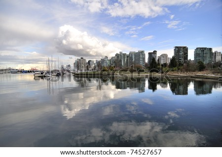 Spring View of Coal Harbor in Vancouver - stock photo