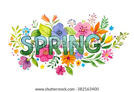 Spring watercolor flowers - stock photo