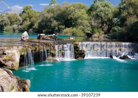 Spring waterfall Manavgat in Turkey - stock photo