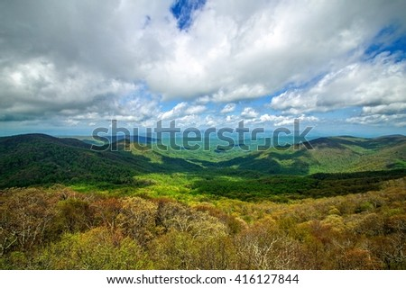 Spring Weather Atop Flat Top Rock Peaks of Otter, Blue Ridge Parkway, Bedford, Virginia - stock photo