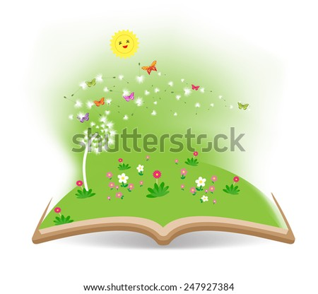 Spring with dandelion in the book - stock photo