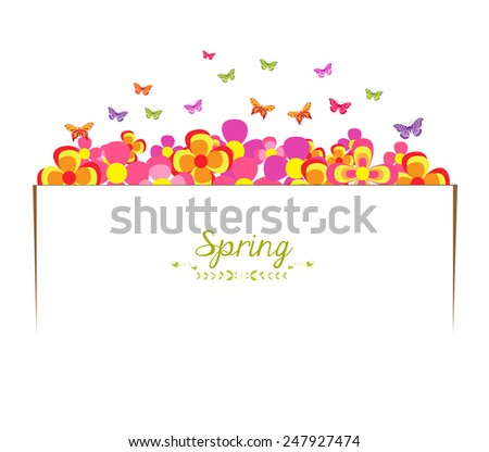 spring with flower and butterfly banner - stock photo