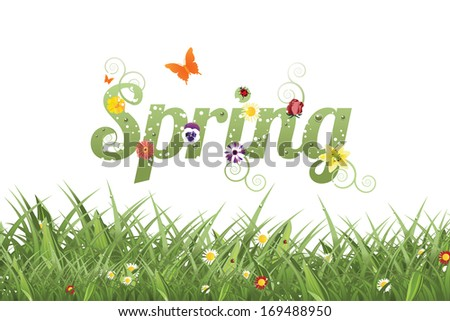 Spring word and grass. Jpg. - stock photo