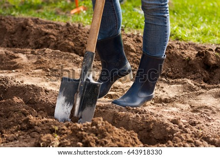 Spring Work. Women legs Farmer In Rubber Boots With Shovel In Spring Sunny Garden Close Up.