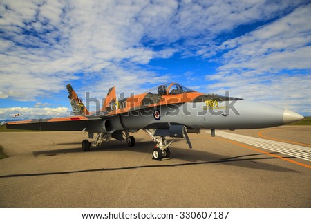 SPRINGBANK CANADA 20 JUL 2015:F-18 International Air Show and Open House for Canadian, USA and British current and historical military and civilian aircrafts. There were also numerous flights as well.