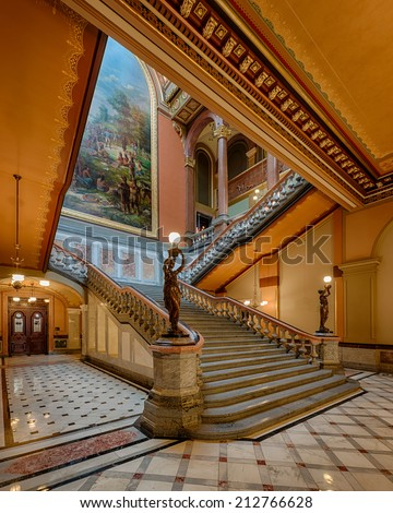 SPRINGFIELD, ILLINOIS - AUGUST 11: Grand staircase of the Illinois State Capitol building on August 11, 2014 in Springfield, Illinois - stock photo