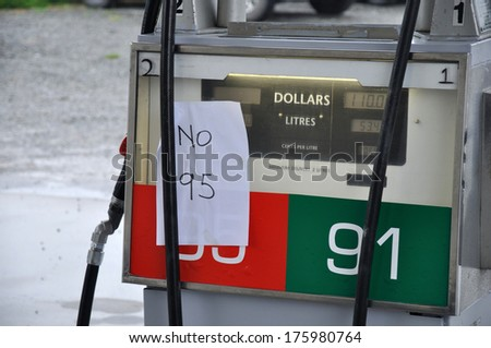 SPRINGFIELD, NEW ZEALAND. FEBRUARY 22, 2011: signage tells of fuel shortage after the earthquake in Christchurch, South Island, New Zealand. - stock photo