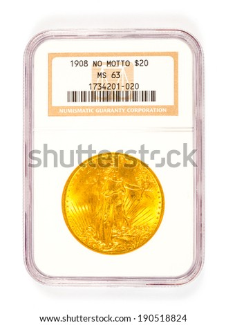 SPRINGFIELD, OR - ARPIL 2, 2014: 1908 no motto St. Gaudens 20 dollar gold coin graded by Numismatic Guaranty Corporation in a protective case. - stock photo