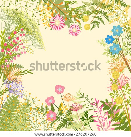 Springtime Colorful Flower Herb Garden Party Background - stock photo