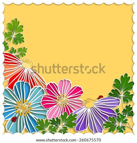 Springtime Colorful Paper Cut Flower on Yellow Background - stock photo