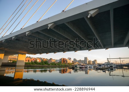 Springtime Dawn Suspension Bridge Highway 509 Downtown Tacoma Washington - stock photo