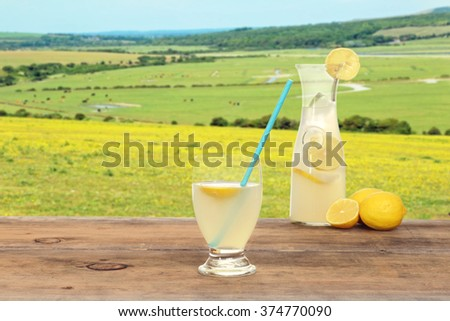 springtime glass of lemonade - stock photo