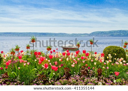Springtime on lake Bodensee - Ueberlingen, Germany - stock photo