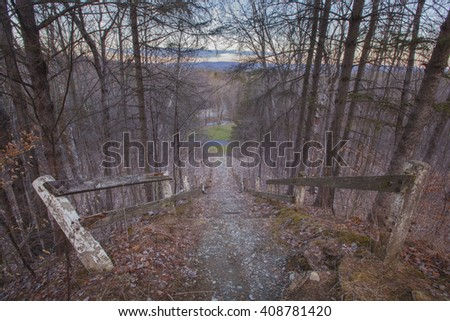 Springtime view from a ski jump in the Berkshire Mountains of Western Massachusetts. - stock photo