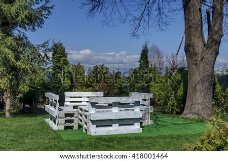 Springtime view with place for respite in the garden, Pancharevo, Bulgaria