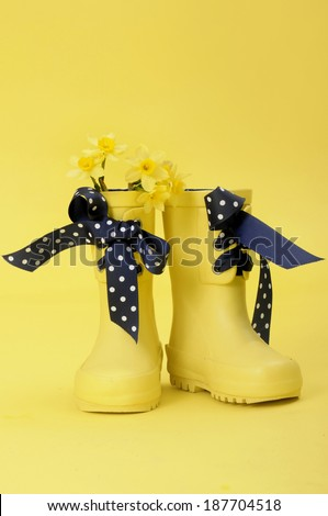 springtime wellies - stock photo