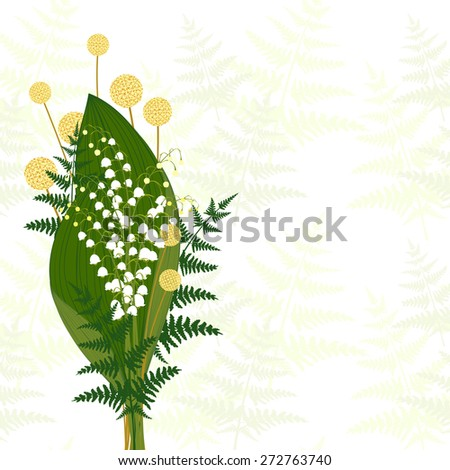 Springtime White Lily of The Valley, Fern Leaf, Craspedia - stock photo