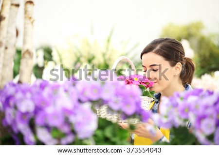 springtime woman in flowers garden smell the primroses in wicker basket