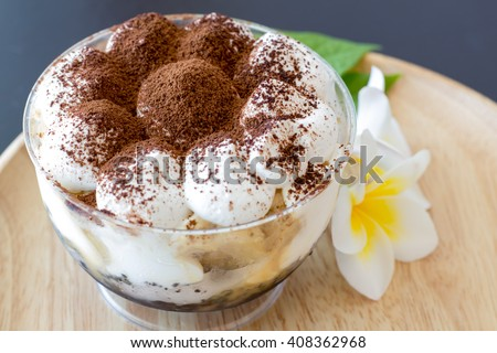 Sprinkle chocolate on top of foam served with banana cupcake - stock photo