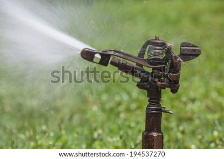 Sprinkler spraying water in the park - stock photo