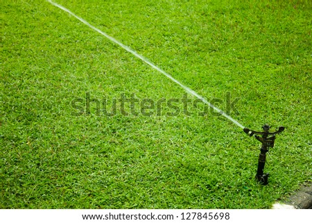 sprinkler watering the green grass - stock photo