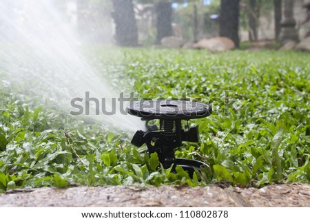 sprinkler watering the malaysian grass - stock photo