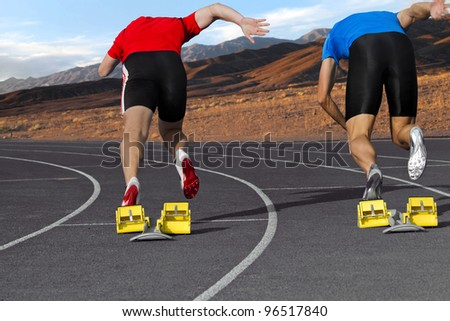Sprint competition of two sprinter in the mountains - stock photo