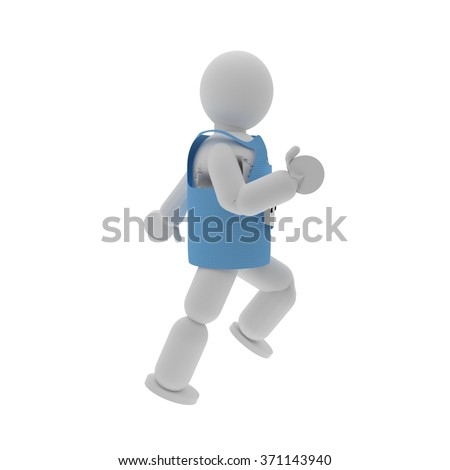 Sprinter puppet with sport shirt isolated over white, 3d render - stock photo