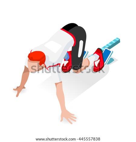Sprinter Runner Athlete at Starting Line Athletics Race Start Summer Games Icon Set. Flat Isometric Sport Athletics White Man Runner Athlete at Starting Blocks.Olympics Sport Infographic Image - stock photo