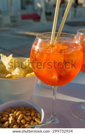 Spritz, aperitif in the beach - stock photo