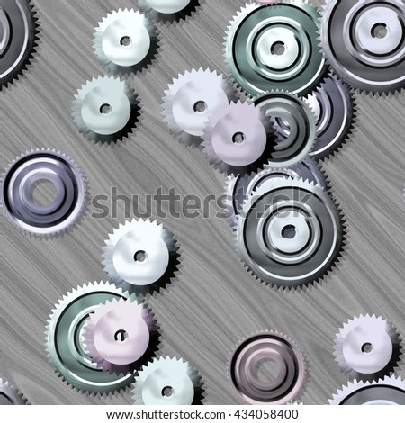 Sprockets on metal background - abstract illustration - stock photo
