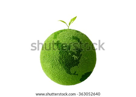 sprout on the green globe - stock photo