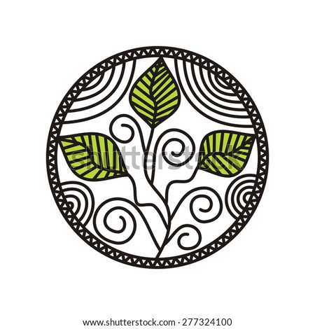 Sprout round pattern design element illustration - stock photo