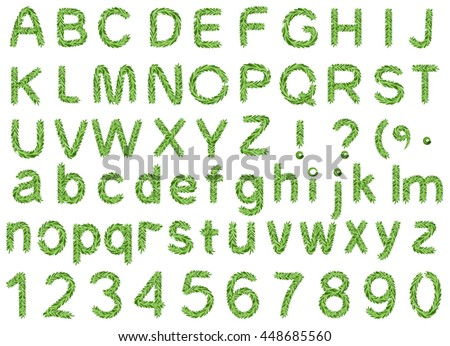 Spruce alphabet isolated on white background. Letter fir branch and pine number. Illustration