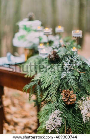 Spruce branch with pinecones close up. Vintage table on background  - stock photo